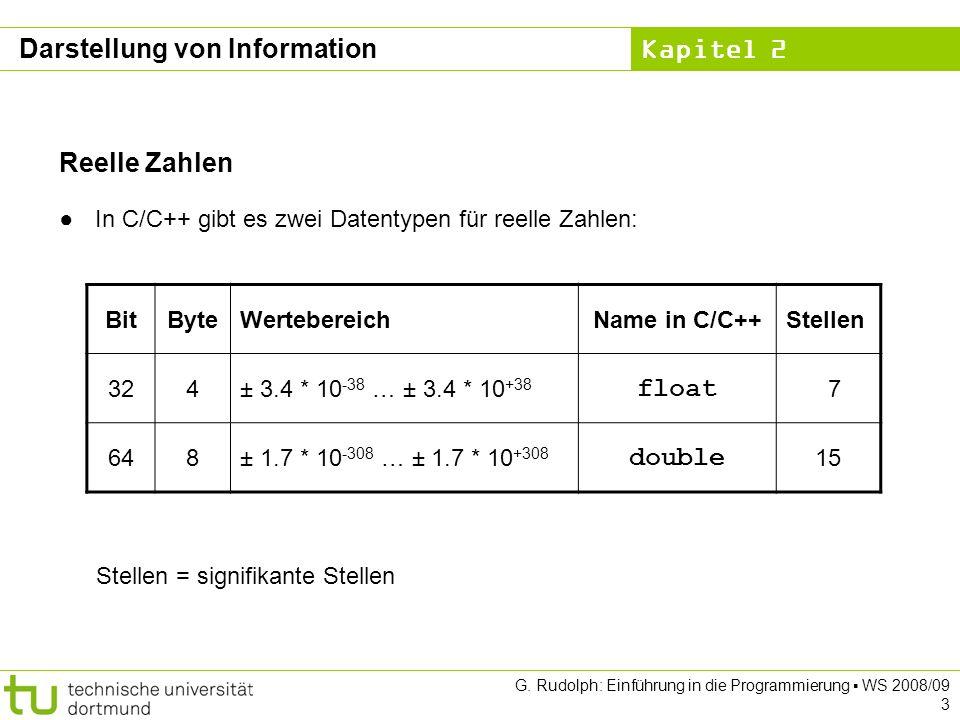 Kapitel 2 G.Rudolph: Einführung in die Programmierung WS 2008/09 4 Reelle Zahlen Float vs.