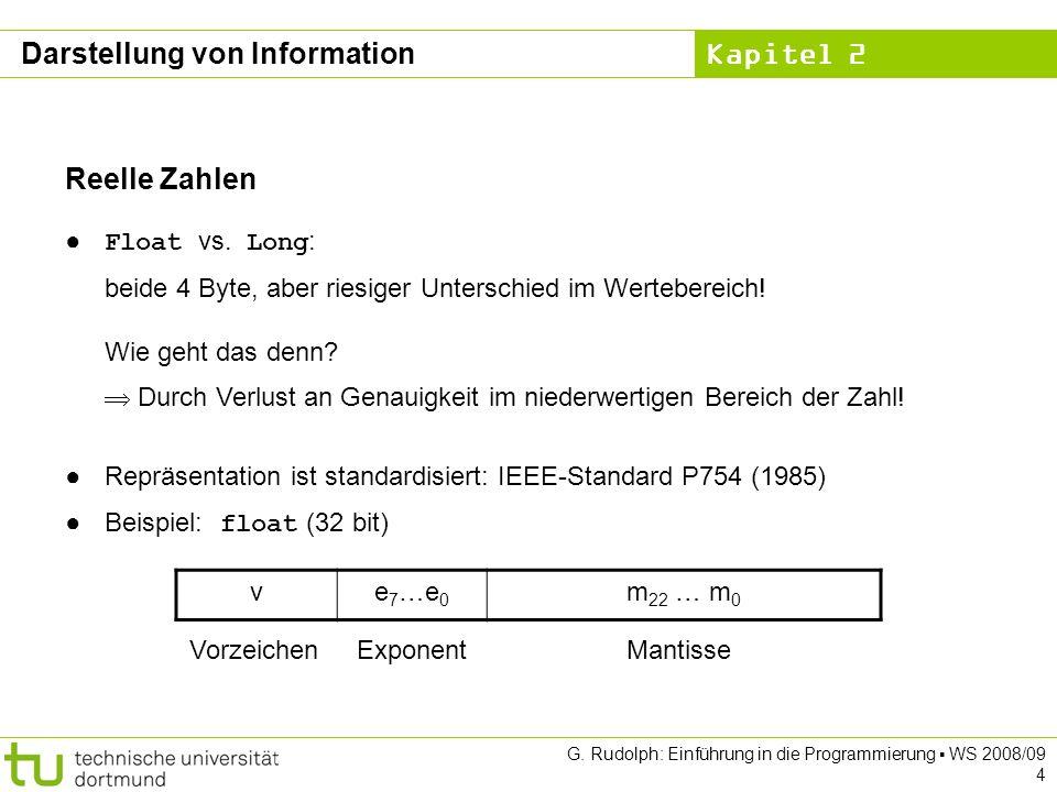 Kapitel 2 G. Rudolph: Einführung in die Programmierung WS 2008/09 4 Reelle Zahlen Float vs.