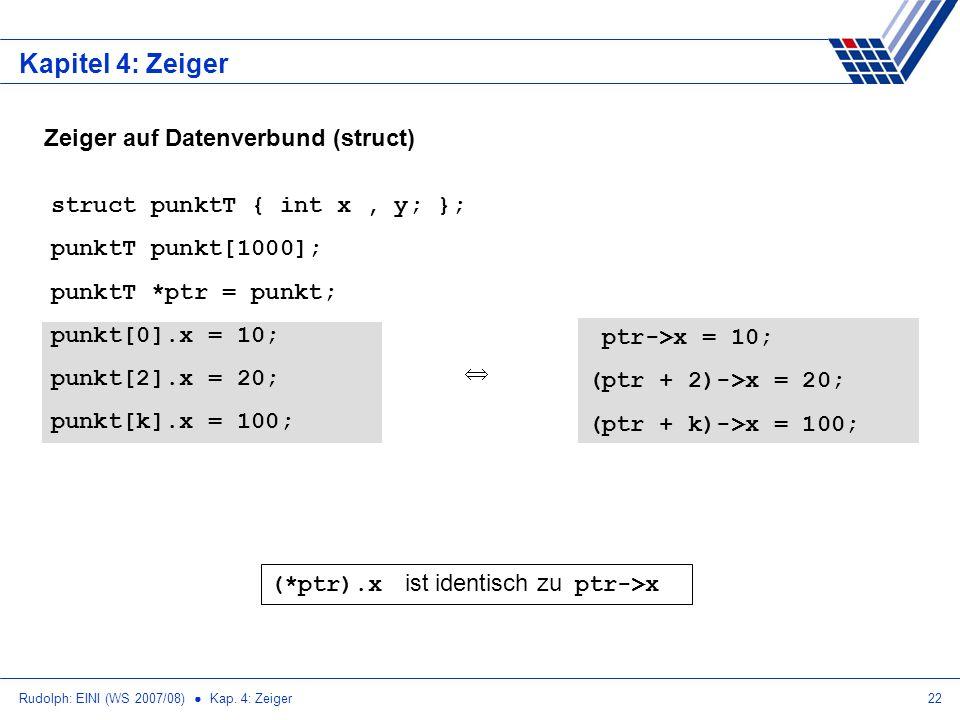 Rudolph: EINI (WS 2007/08) Kap. 4: Zeiger22 Kapitel 4: Zeiger Zeiger auf Datenverbund (struct) struct punktT { int x, y; }; punktT punkt[1000]; punktT