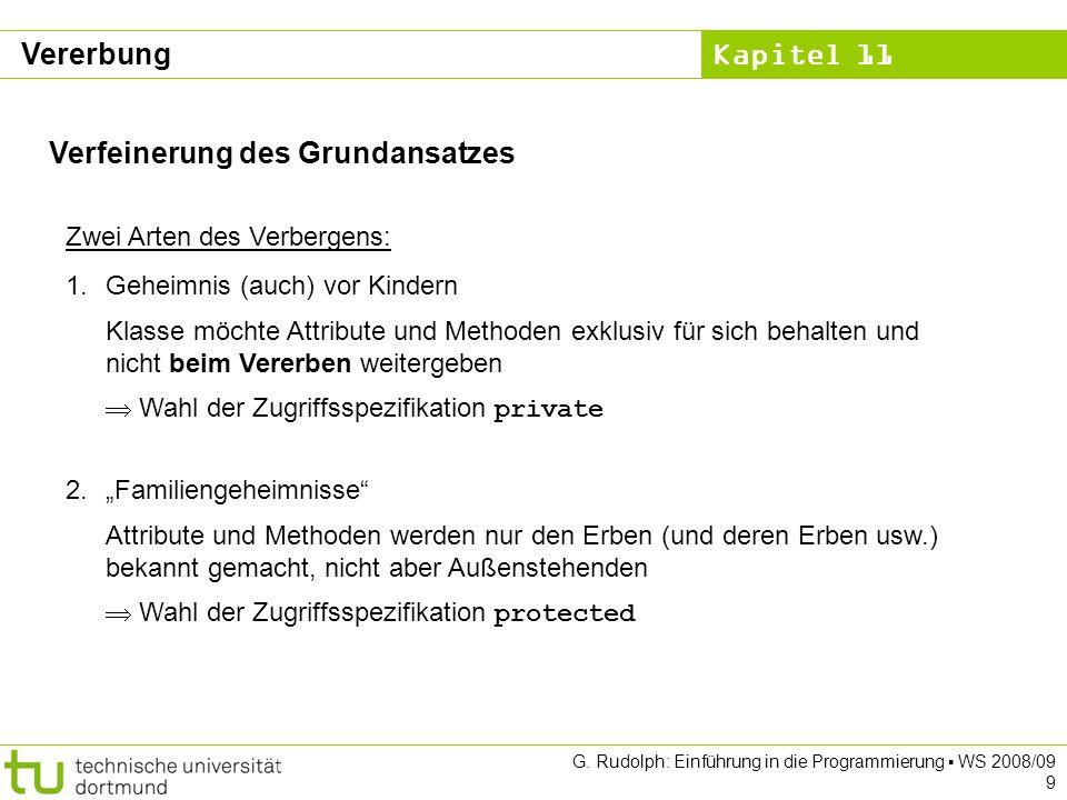 Kapitel 11 G.Rudolph: Einführung in die Programmierung WS 2008/09 10 Klasse KString: 2.