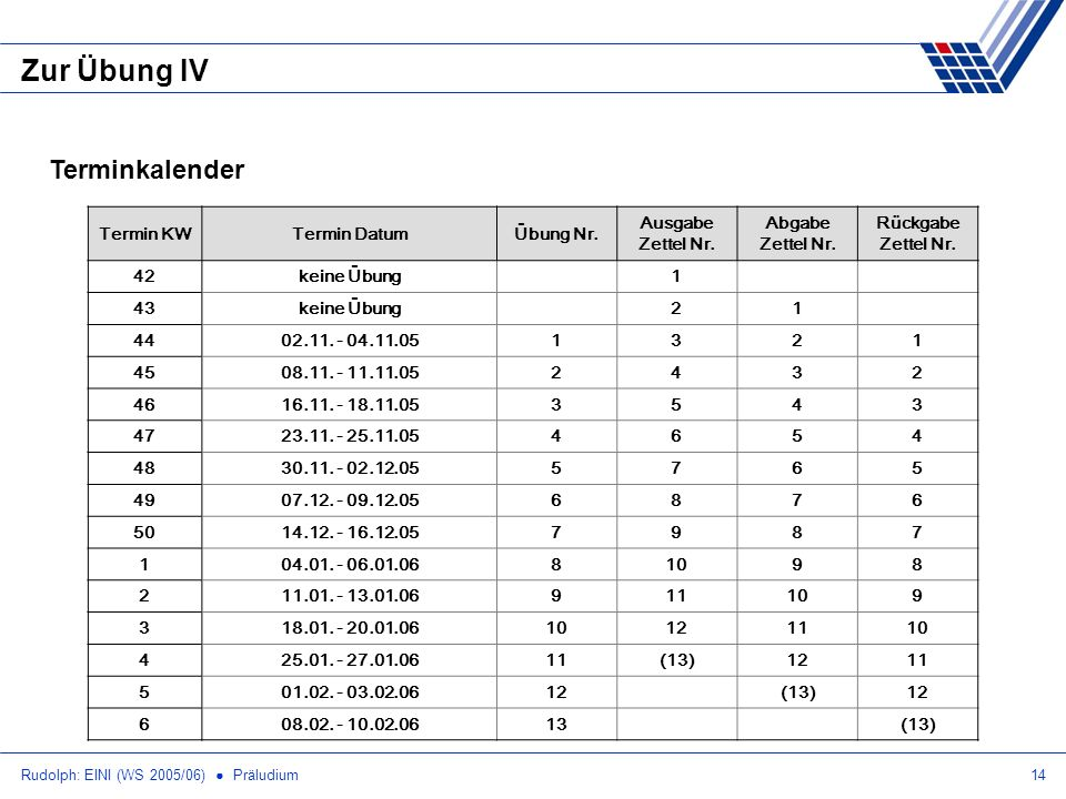 Rudolph: EINI (WS 2005/06) Präludium14 Zur Übung IV Terminkalender Termin KWTermin DatumÜbung Nr.
