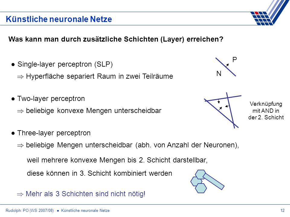 Rudolph: PO (WS 2007/08) Künstliche neuronale Netze12 Künstliche neuronale Netze Was kann man durch zusätzliche Schichten (Layer) erreichen? Single-la