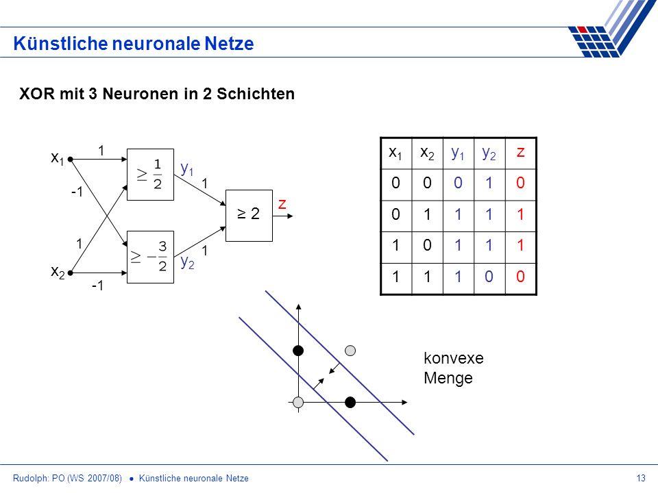 Rudolph: PO (WS 2007/08) Künstliche neuronale Netze13 Künstliche neuronale Netze XOR mit 3 Neuronen in 2 Schichten x1x1 x2x2 y1y1 y2y2 z 00010 01111 1