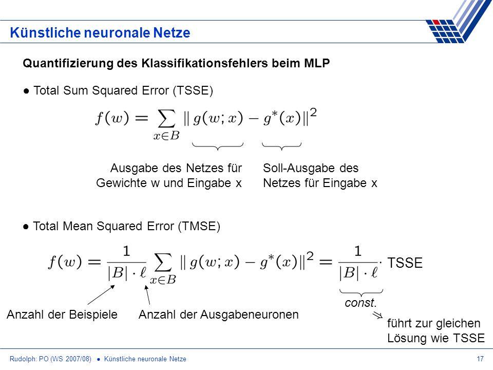 Rudolph: PO (WS 2007/08) Künstliche neuronale Netze17 Künstliche neuronale Netze Quantifizierung des Klassifikationsfehlers beim MLP Total Sum Squared