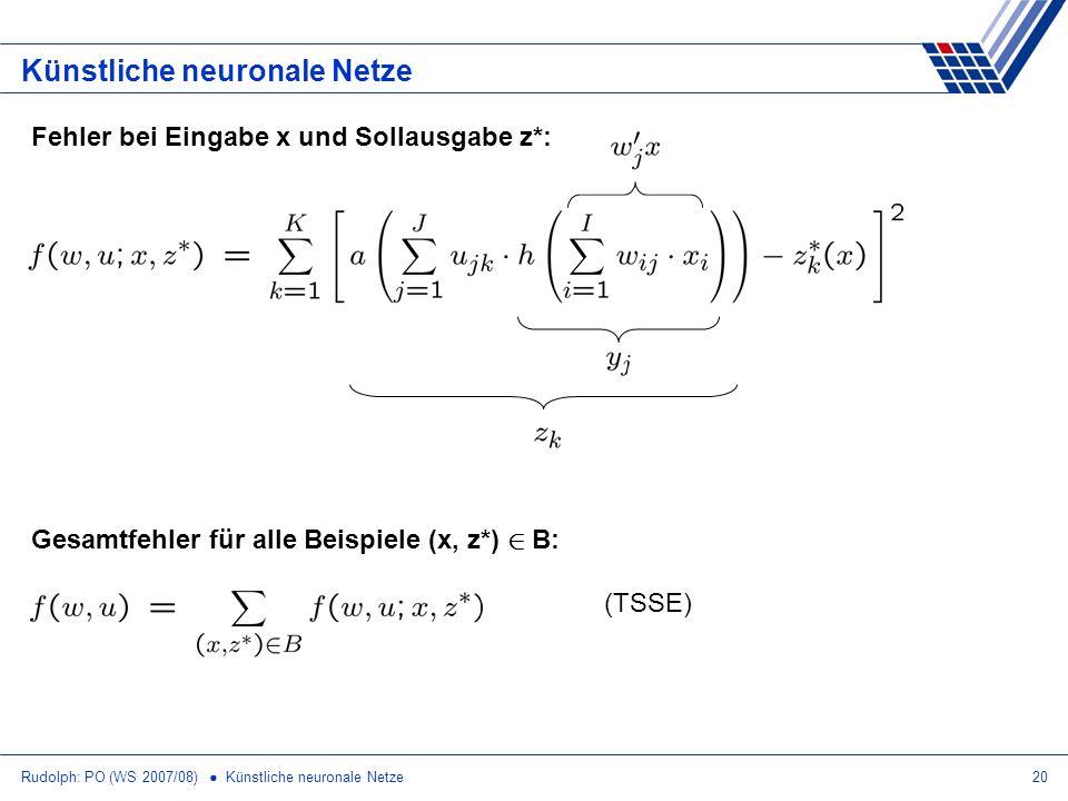 Rudolph: PO (WS 2007/08) Künstliche neuronale Netze20 Künstliche neuronale Netze Fehler bei Eingabe x und Sollausgabe z*: Gesamtfehler für alle Beispi