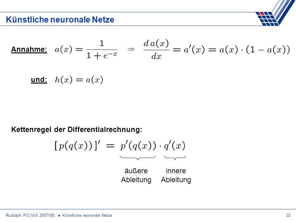 Rudolph: PO (WS 2007/08) Künstliche neuronale Netze22 Künstliche neuronale Netze Annahme: ) und: Kettenregel der Differentialrechnung: äußere Ableitun