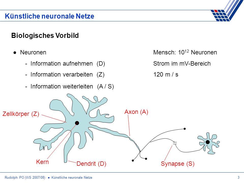 Rudolph: PO (WS 2007/08) Künstliche neuronale Netze14 Künstliche neuronale Netze XOR mit 3 Neuronen in 2 Schichten x1x1 x2x2 y1y1 y2y2 z 00000 01011 10101 11000 1 1 x1x1 x2x2 1 1 y1y1 z 1 1 y2y2 1 ohne AND-Verknüpfung in 2.