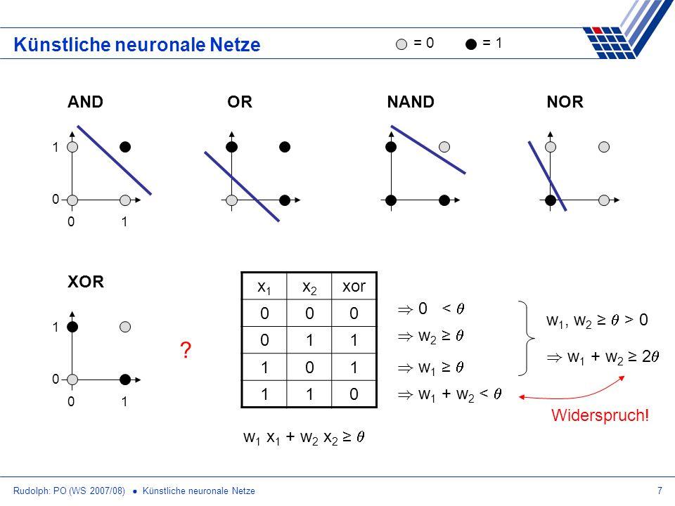 Rudolph: PO (WS 2007/08) Künstliche neuronale Netze7 Künstliche neuronale Netze OR NAND NOR = 0= 1 AND 01 1 0 XOR 01 1 0 ? x1x1 x2x2 xor 000 011 101 1