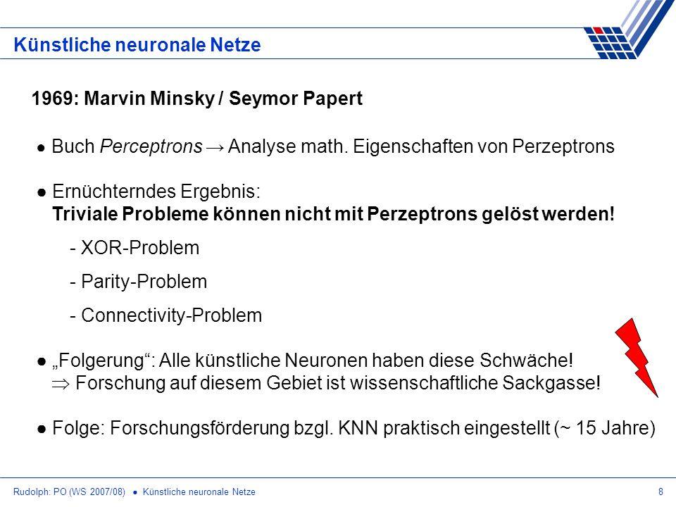 Rudolph: PO (WS 2007/08) Künstliche neuronale Netze8 Künstliche neuronale Netze Buch Perceptrons Analyse math. Eigenschaften von Perzeptrons Ernüchter