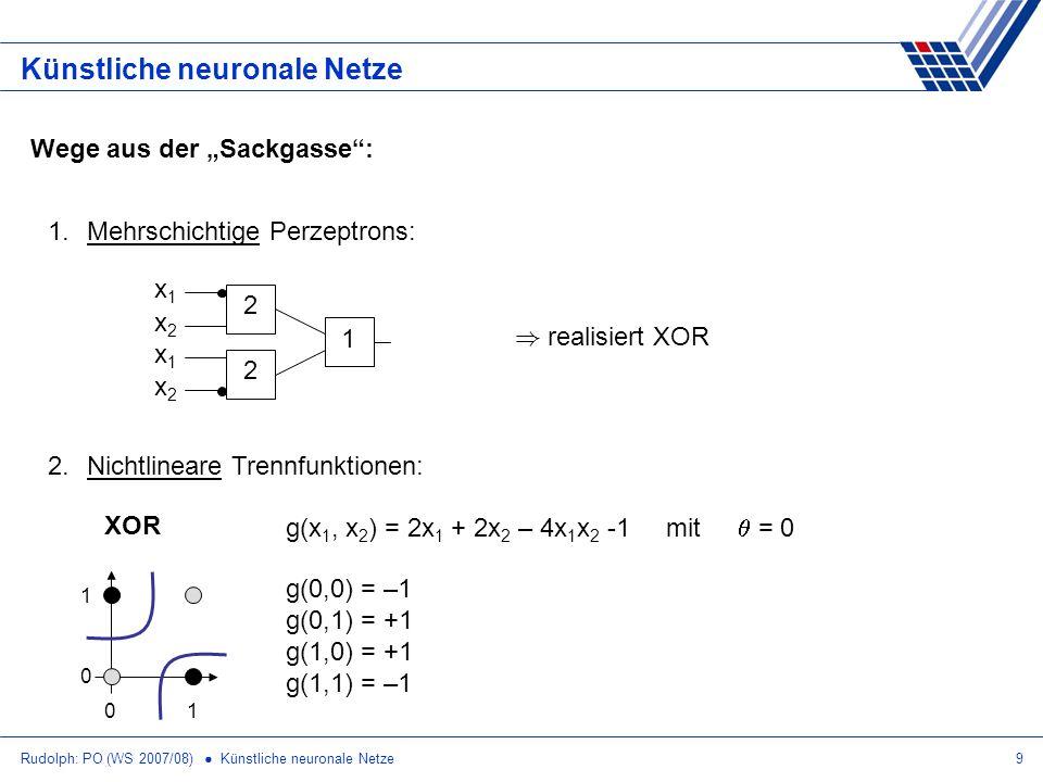 Rudolph: PO (WS 2007/08) Künstliche neuronale Netze9 Künstliche neuronale Netze Wege aus der Sackgasse: 1.Mehrschichtige Perzeptrons: 2.Nichtlineare T
