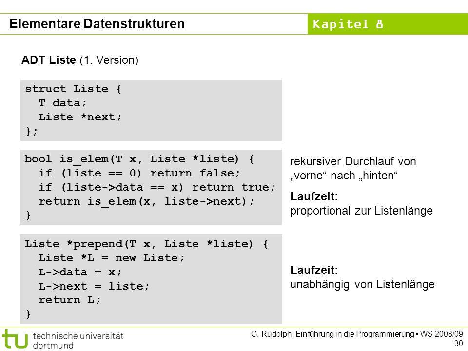 Kapitel 8 G. Rudolph: Einführung in die Programmierung WS 2008/09 30 ADT Liste (1.