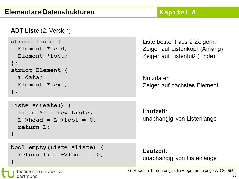 Kapitel 8 G. Rudolph: Einführung in die Programmierung WS 2008/09 33 ADT Liste (2.