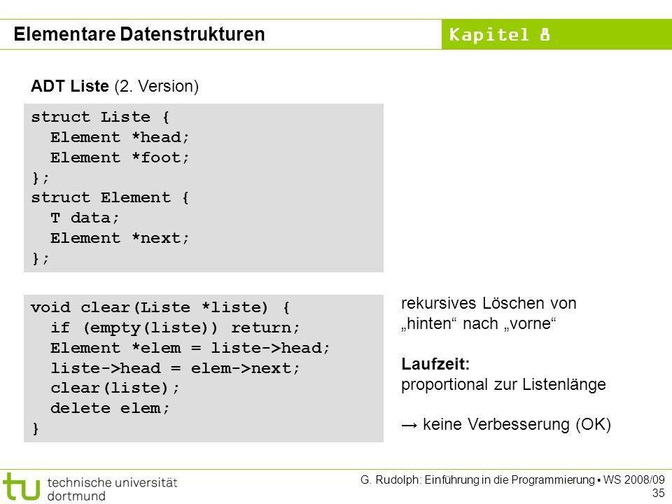Kapitel 8 G. Rudolph: Einführung in die Programmierung WS 2008/09 35 ADT Liste (2.