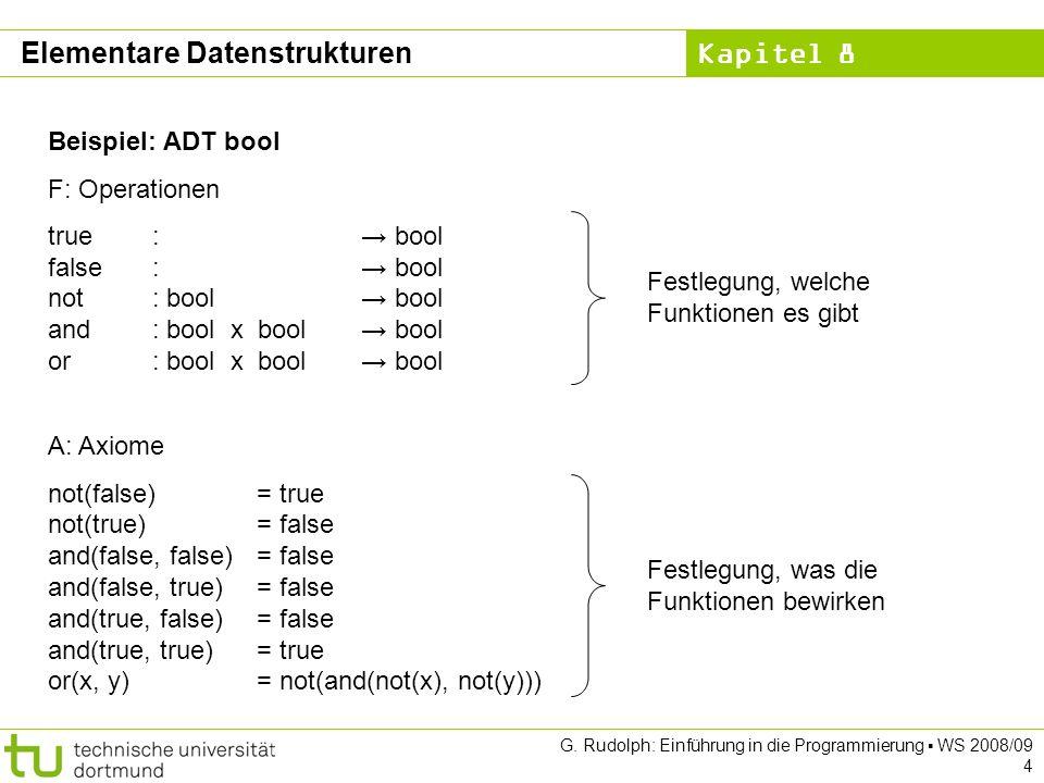 Kapitel 8 G.Rudolph: Einführung in die Programmierung WS 2008/09 35 ADT Liste (2.