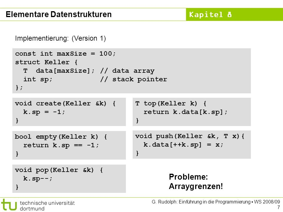Kapitel 8 G.Rudolph: Einführung in die Programmierung WS 2008/09 28 ADT Liste (1.