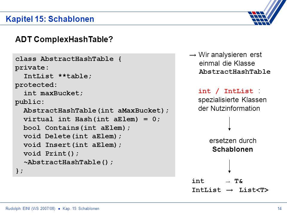 Rudolph: EINI (WS 2007/08) Kap. 15: Schablonen14 Kapitel 15: Schablonen class AbstractHashTable { private: IntList **table; protected: int maxBucket;