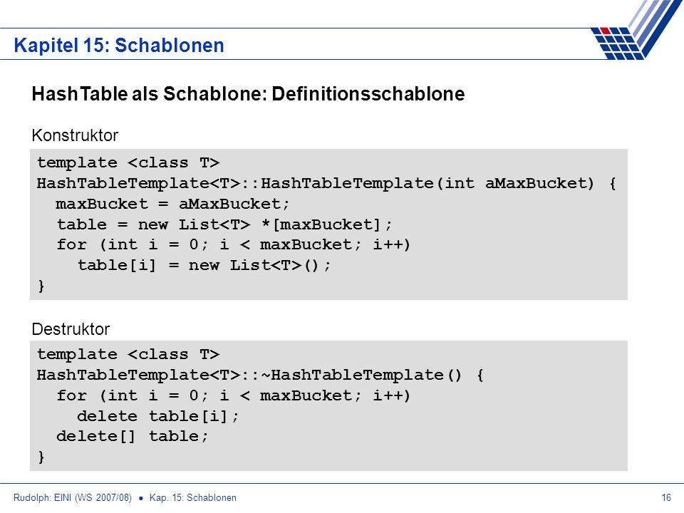 Rudolph: EINI (WS 2007/08) Kap. 15: Schablonen16 Kapitel 15: Schablonen HashTable als Schablone: Definitionsschablone template HashTableTemplate ::Has