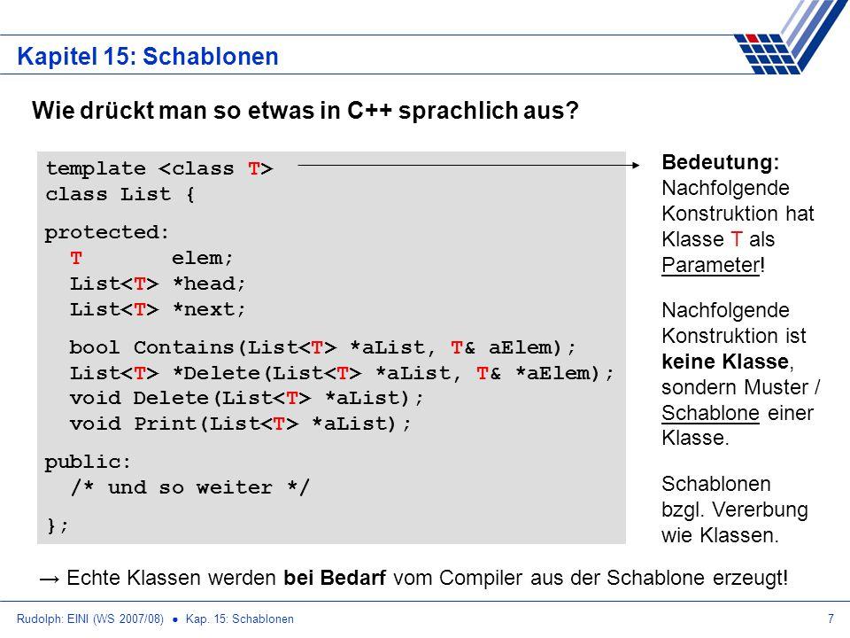 Rudolph: EINI (WS 2007/08) Kap. 15: Schablonen7 Kapitel 15: Schablonen Wie drückt man so etwas in C++ sprachlich aus? template class List { protected: