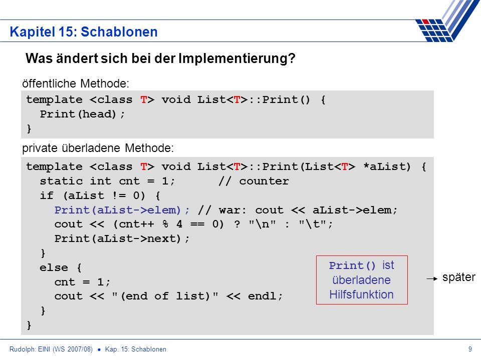 Rudolph: EINI (WS 2007/08) Kap. 15: Schablonen9 Kapitel 15: Schablonen Was ändert sich bei der Implementierung? template void List ::Print() { Print(h