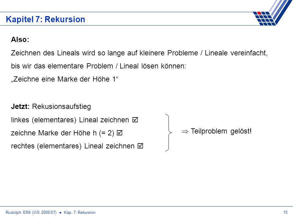 Rudolph: EINI (WS 2006/07) Kap. 7: Rekursion15 Kapitel 7: Rekursion Also: Zeichnen des Lineals wird so lange auf kleinere Probleme / Lineale vereinfac