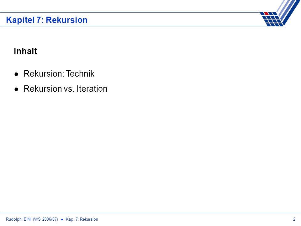 Rudolph: EINI (WS 2006/07) Kap.7: Rekursion23 Kapitel 7: Rekursion Rekusion vs.