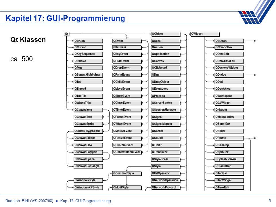 Rudolph: EINI (WS 2007/08) Kap. 17: GUI-Programmierung5 Kapitel 17: GUI-Programmierung Qt Klassen ca. 500
