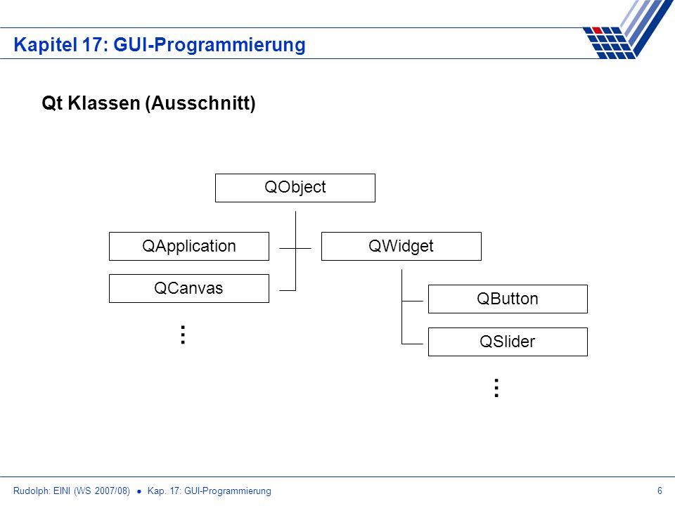 Rudolph: EINI (WS 2007/08) Kap. 17: GUI-Programmierung6 Kapitel 17: GUI-Programmierung Qt Klassen (Ausschnitt) QObject QWidget QButton QSlider QApplic