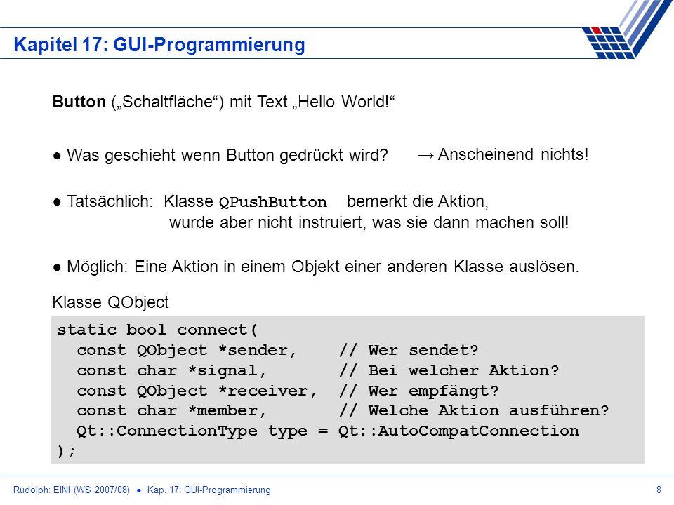 Rudolph: EINI (WS 2007/08) Kap. 17: GUI-Programmierung8 Kapitel 17: GUI-Programmierung Button (Schaltfläche) mit Text Hello World! Was geschieht wenn