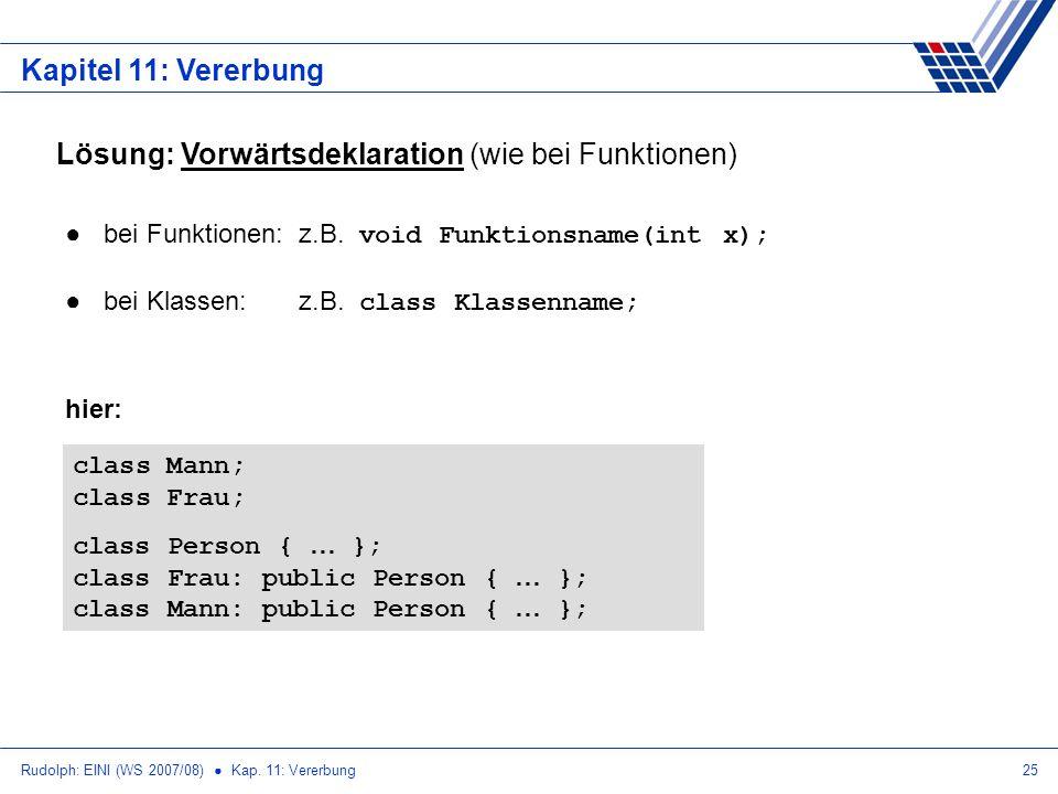 Rudolph: EINI (WS 2007/08) Kap. 11: Vererbung25 Kapitel 11: Vererbung Lösung: Vorwärtsdeklaration (wie bei Funktionen) bei Funktionen: z.B. void Funkt