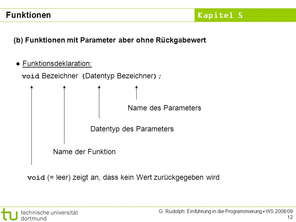 Kapitel 5 G. Rudolph: Einführung in die Programmierung WS 2008/09 12 (b) Funktionen mit Parameter aber ohne Rückgabewert Funktionsdeklaration: void Be