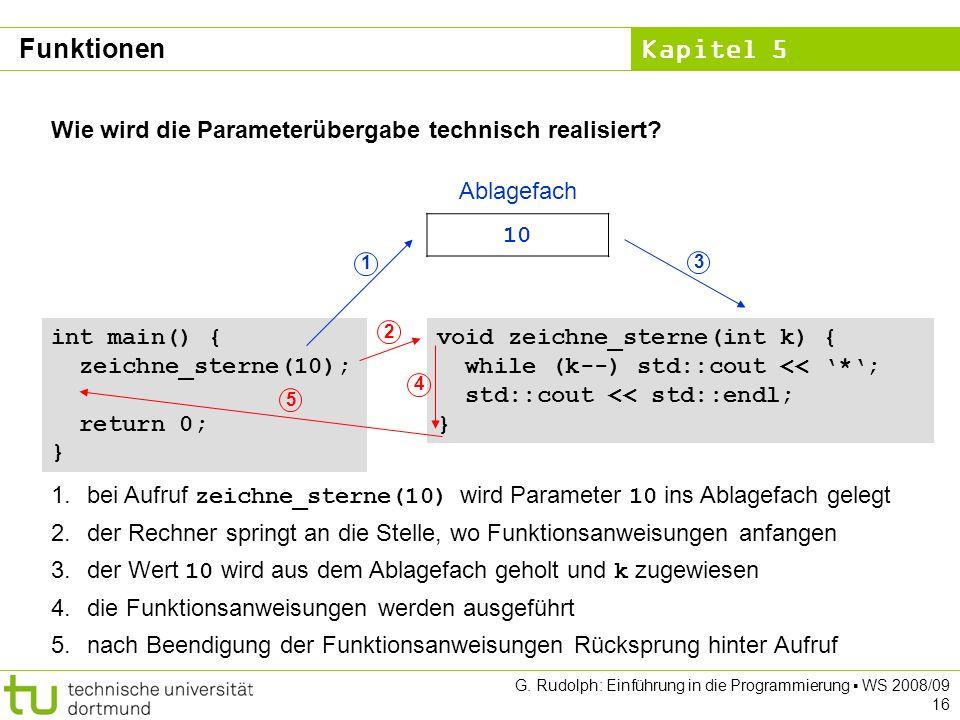 Kapitel 5 G. Rudolph: Einführung in die Programmierung WS 2008/09 16 Wie wird die Parameterübergabe technisch realisiert? void zeichne_sterne(int k) {