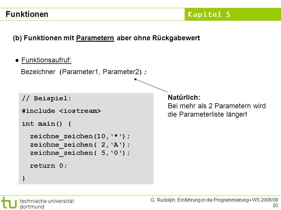 Kapitel 5 G. Rudolph: Einführung in die Programmierung WS 2008/09 20 (b) Funktionen mit Parametern aber ohne Rückgabewert Funktionsaufruf: Bezeichner