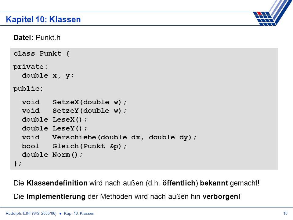 Rudolph: EINI (WS 2005/06) Kap. 10: Klassen10 Kapitel 10: Klassen class Punkt { private: double x, y; public: void SetzeX(double w); void SetzeY(doubl