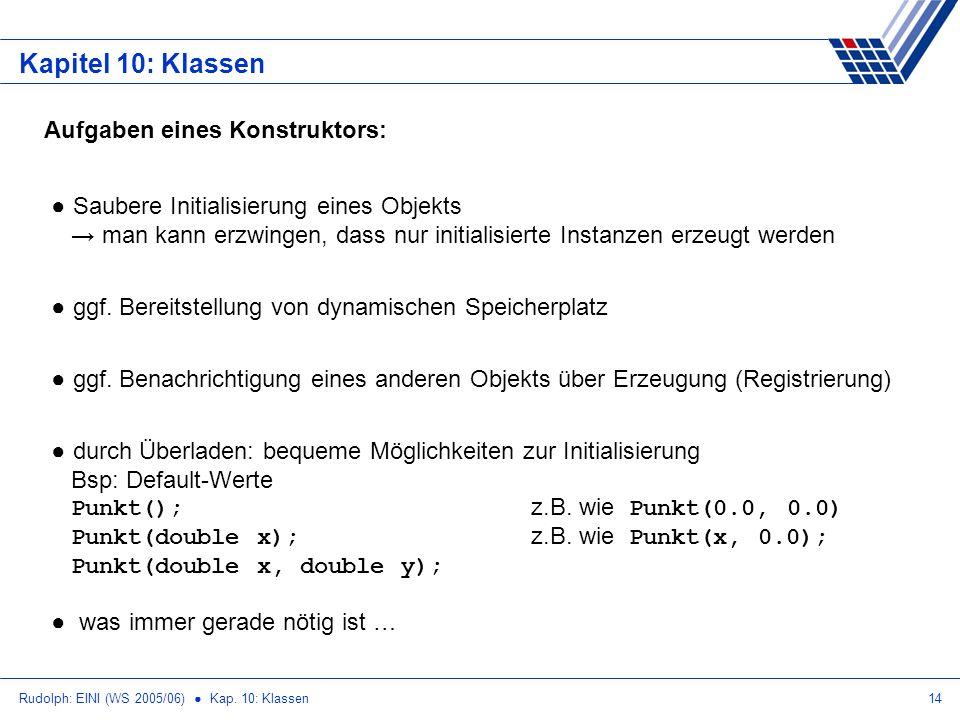 Rudolph: EINI (WS 2005/06) Kap. 10: Klassen14 Kapitel 10: Klassen Aufgaben eines Konstruktors: Saubere Initialisierung eines Objekts man kann erzwinge