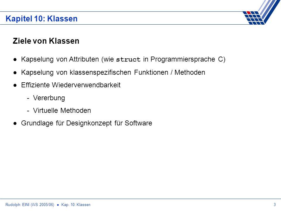 Rudolph: EINI (WS 2005/06) Kap. 10: Klassen3 Kapitel 10: Klassen Ziele von Klassen Kapselung von Attributen (wie struct in Programmiersprache C) Kapse