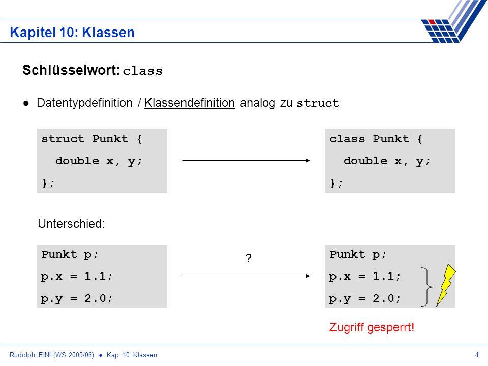 Rudolph: EINI (WS 2005/06) Kap. 10: Klassen4 Kapitel 10: Klassen Schlüsselwort: class Datentypdefinition / Klassendefinition analog zu struct struct P