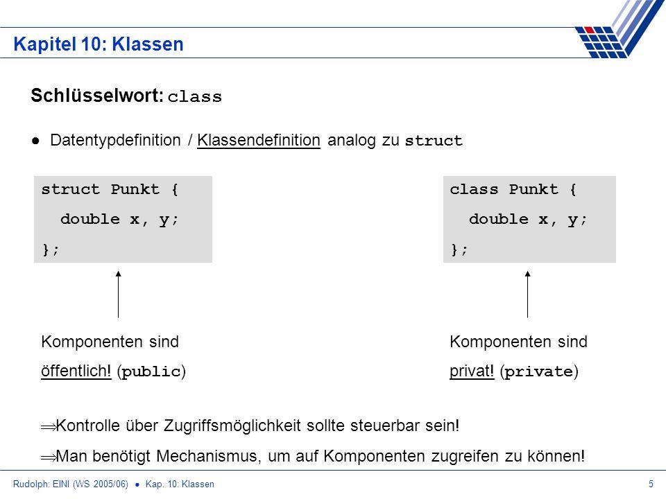 Rudolph: EINI (WS 2005/06) Kap. 10: Klassen5 Kapitel 10: Klassen Schlüsselwort: class Datentypdefinition / Klassendefinition analog zu struct struct P