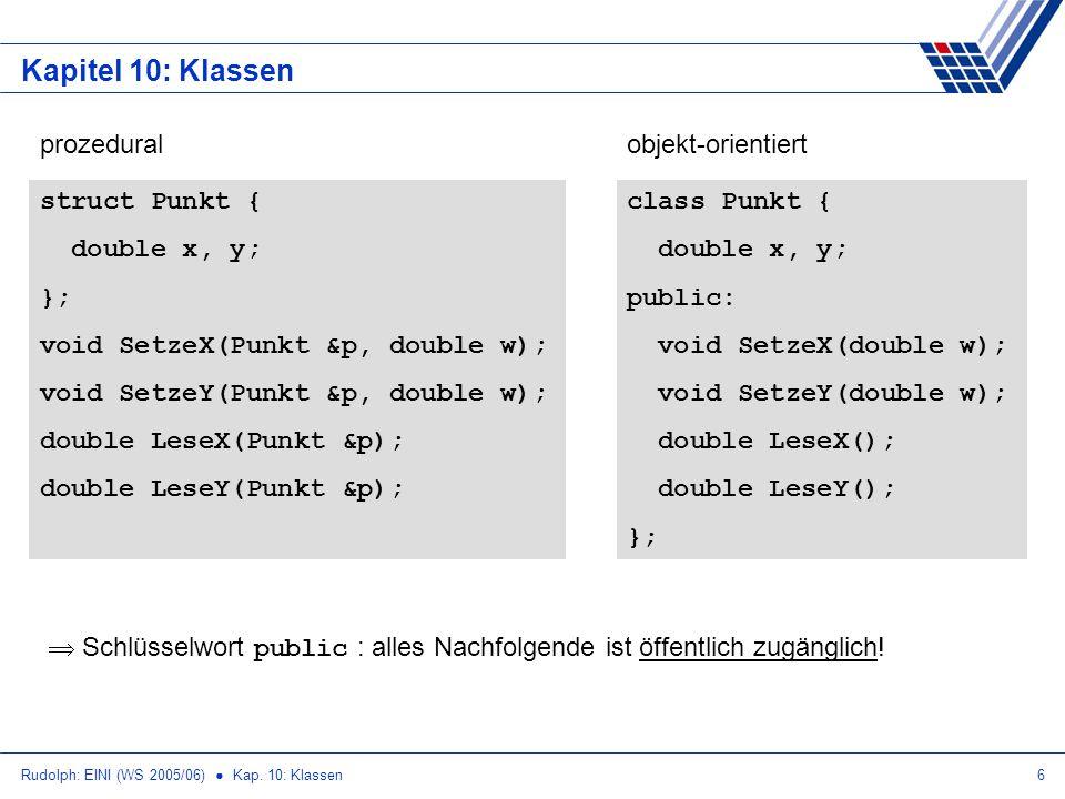 Rudolph: EINI (WS 2005/06) Kap. 10: Klassen6 Kapitel 10: Klassen struct Punkt { double x, y; }; void SetzeX(Punkt &p, double w); void SetzeY(Punkt &p,