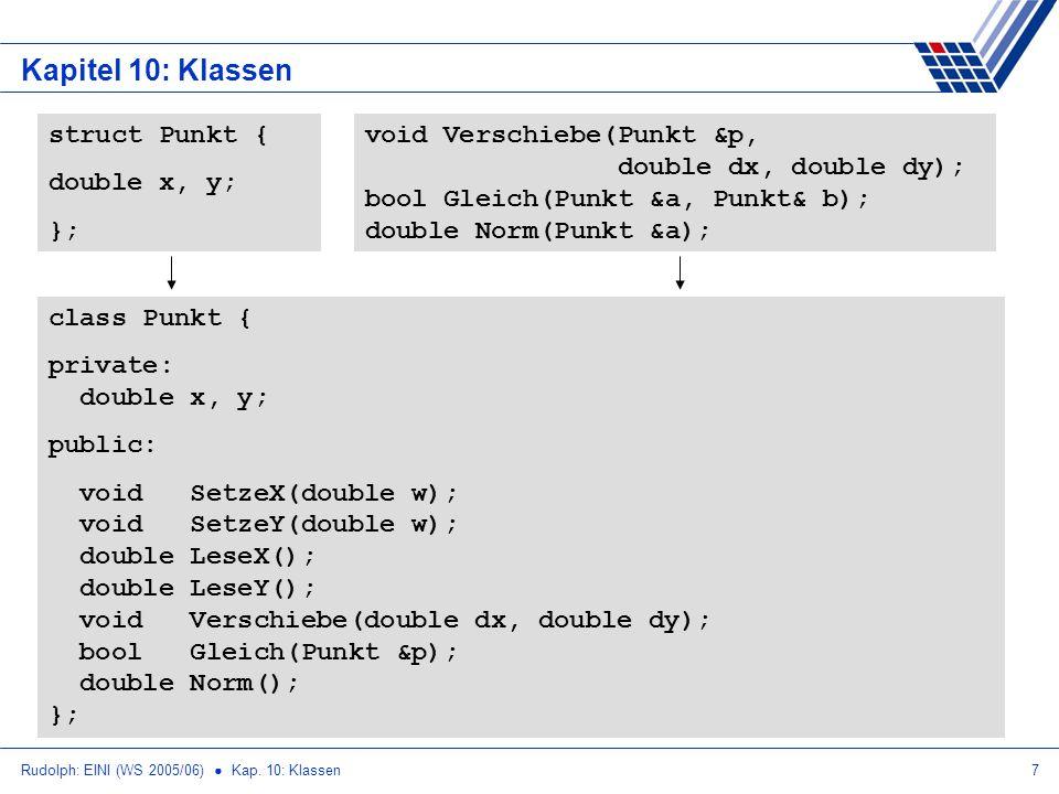 Rudolph: EINI (WS 2005/06) Kap. 10: Klassen7 Kapitel 10: Klassen struct Punkt { double x, y; }; void Verschiebe(Punkt &p, double dx, double dy); bool
