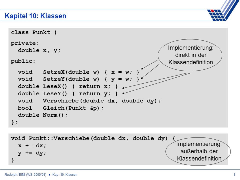 Rudolph: EINI (WS 2005/06) Kap. 10: Klassen8 Kapitel 10: Klassen class Punkt { private: double x, y; public: void SetzeX(double w) { x = w; } void Set