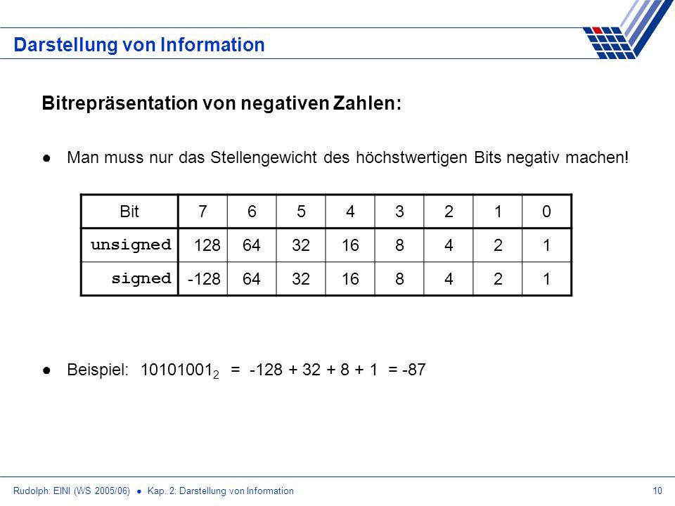 Rudolph: EINI (WS 2005/06) Kap. 2: Darstellung von Information10 Darstellung von Information Bitrepräsentation von negativen Zahlen: Man muss nur das