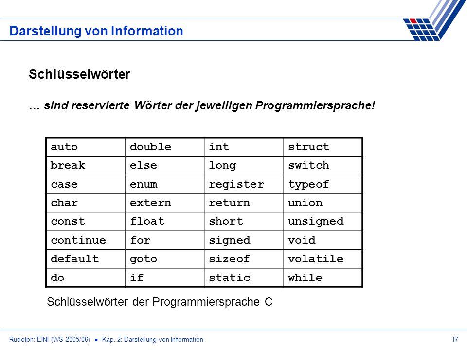 Rudolph: EINI (WS 2005/06) Kap. 2: Darstellung von Information17 Darstellung von Information Schlüsselwörter … sind reservierte Wörter der jeweiligen