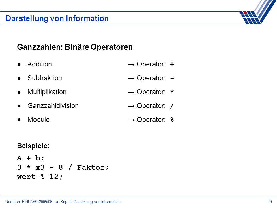 Rudolph: EINI (WS 2005/06) Kap. 2: Darstellung von Information19 Darstellung von Information Ganzzahlen: Binäre Operatoren Addition Operator: + Subtra
