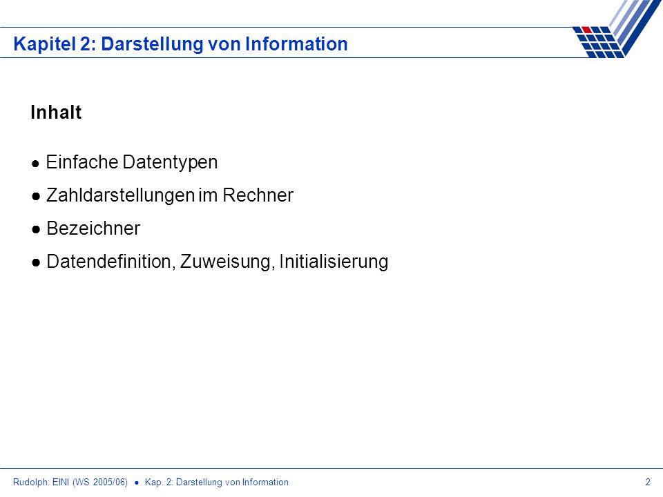 Rudolph: EINI (WS 2005/06) Kap. 2: Darstellung von Information2 Kapitel 2: Darstellung von Information Inhalt Einfache Datentypen Zahldarstellungen im