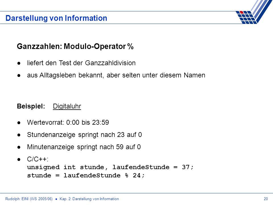 Rudolph: EINI (WS 2005/06) Kap. 2: Darstellung von Information20 Darstellung von Information Ganzzahlen: Modulo-Operator % liefert den Test der Ganzza