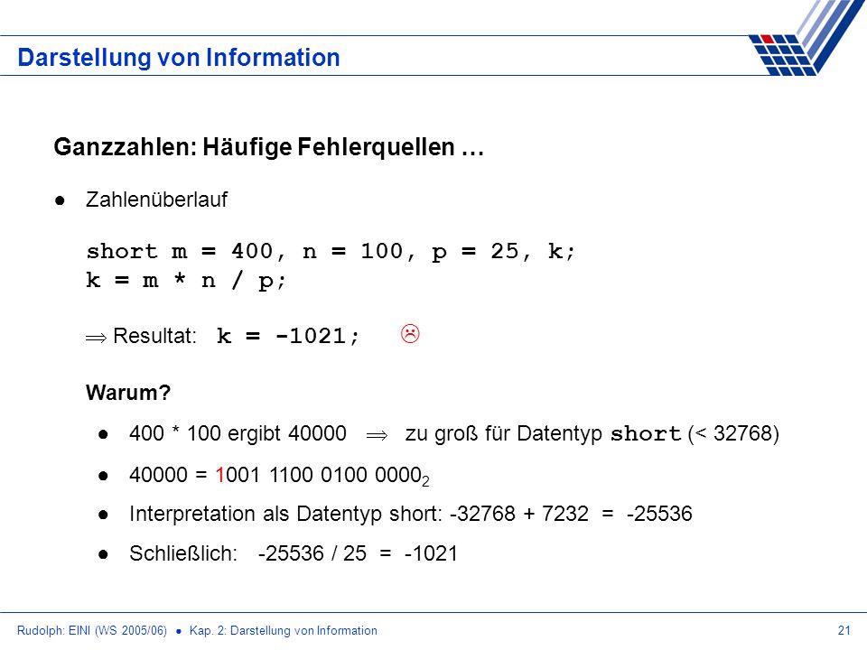 Rudolph: EINI (WS 2005/06) Kap. 2: Darstellung von Information21 Darstellung von Information Ganzzahlen: Häufige Fehlerquellen … Zahlenüberlauf short