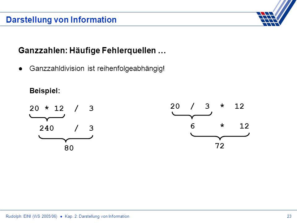 Rudolph: EINI (WS 2005/06) Kap. 2: Darstellung von Information23 Darstellung von Information Ganzzahlen: Häufige Fehlerquellen … Ganzzahldivision ist