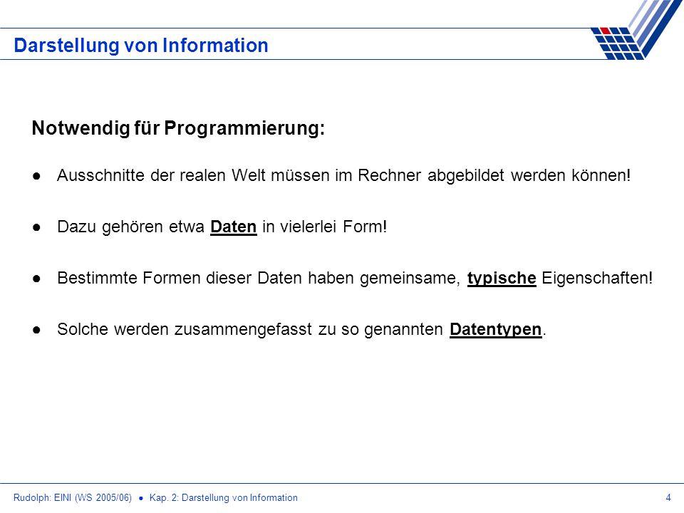 Rudolph: EINI (WS 2005/06) Kap. 2: Darstellung von Information4 Darstellung von Information Notwendig für Programmierung: Ausschnitte der realen Welt
