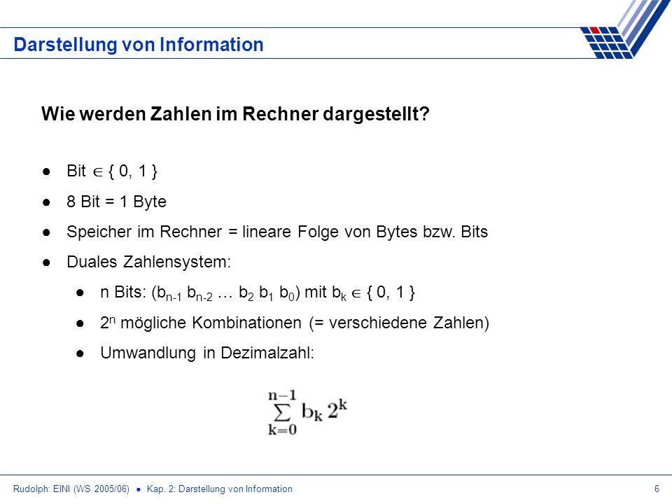 Rudolph: EINI (WS 2005/06) Kap. 2: Darstellung von Information6 Darstellung von Information Wie werden Zahlen im Rechner dargestellt? Bit { 0, 1 } 8 B