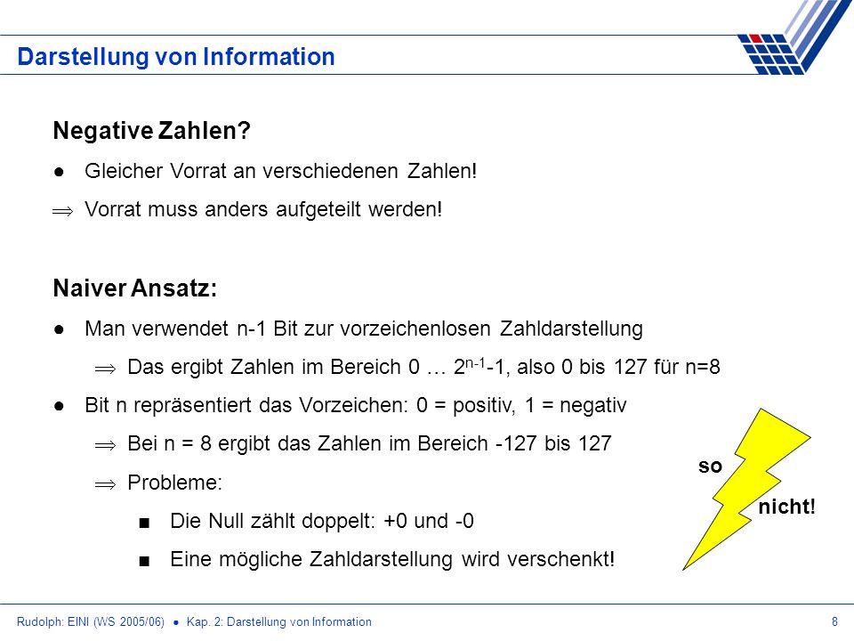 Rudolph: EINI (WS 2005/06) Kap. 2: Darstellung von Information8 Darstellung von Information Negative Zahlen? Gleicher Vorrat an verschiedenen Zahlen!